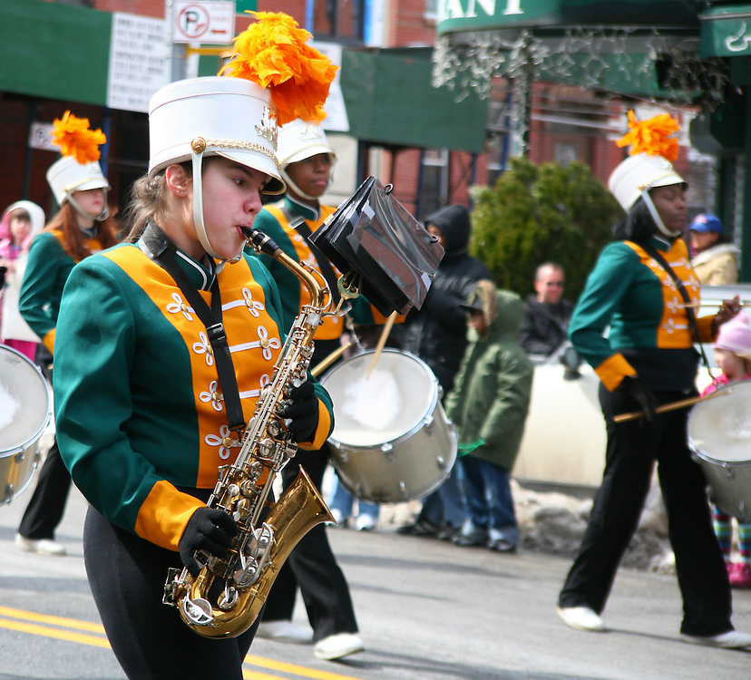 Sax player at the local Brooklyn Saint Patrick's Day Parade.
