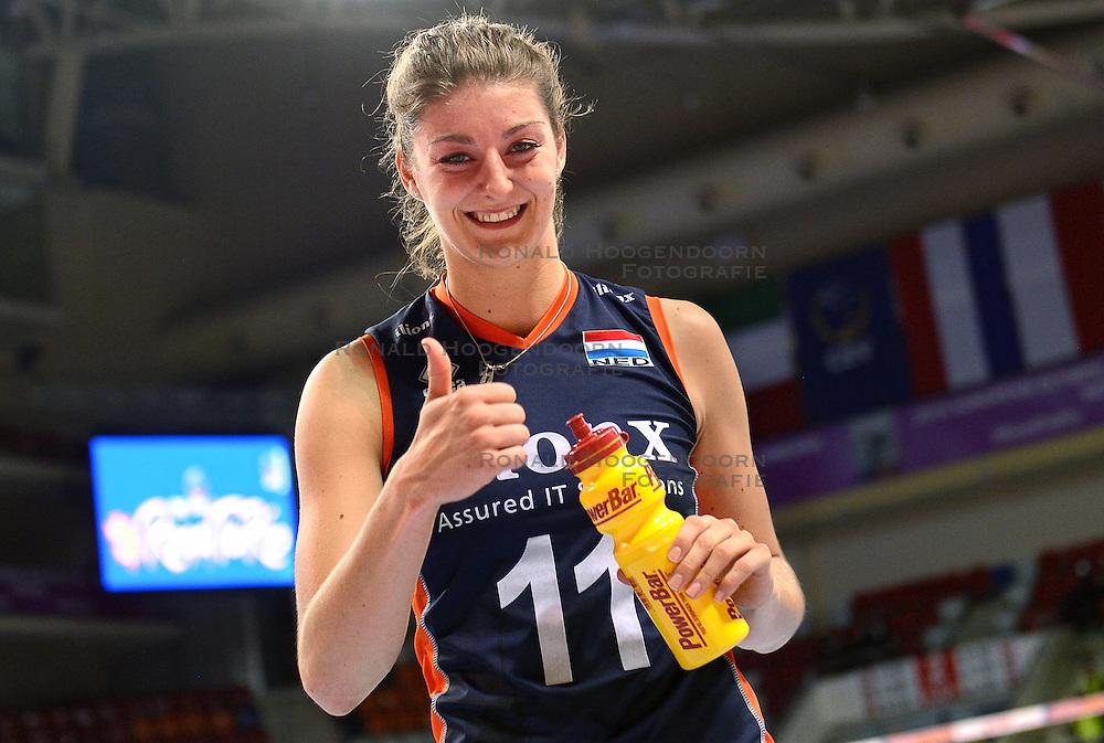 07-01-2016 TUR: European Olympic Qualification Tournament Nederland - Kroatie, Ankara<br /> Nederland verslaat Kroatië met 3-0 en gaat als groepswinnaar de halve finale in / Een blije Anne Buijs #11