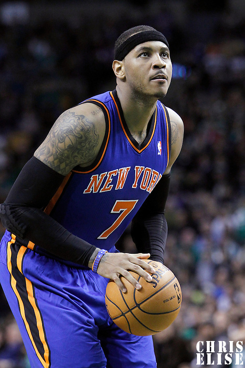 04 March 2012: New York Knicks small forward Carmelo Anthony (7) is seen at the free throw line during the Boston Celtics 115-111 (OT) victory over the New York Knicks at the TD Garden, Boston, Massachusetts, USA.