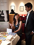 SARAH MARSH; INDROJIT BANERJI, Literary charity First Story fundraising dinner. Cafe Anglais. London. 10 May 2010. *** Local Caption *** -DO NOT ARCHIVE-© Copyright Photograph by Dafydd Jones. 248 Clapham Rd. London SW9 0PZ. Tel 0207 820 0771. www.dafjones.com.<br /> SARAH MARSH; INDROJIT BANERJI, Literary charity First Story fundraising dinner. Cafe Anglais. London. 10 May 2010.