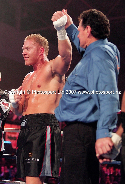 New Zealand's Shane Cameron is awarded the fight during Fight For Life at Trusts Stadium, Auckland, New Zealand on Thursday 28 June 2007. Photo: Hagen Hopkins/PHOTOSPORT