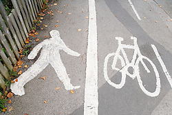 Signage for designated pedestrian and cycle route,
