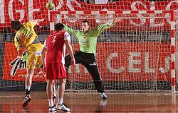 Goalkeeper Jure Vran at 15th round of Slovenian Handball MIK 1st league match between RD Slovan and RK Celje Pivovarna Lasko, on February 6, 2009, in Kodeljevo, Ljubljana, Slovenia. Win of RK Slovan 18:17. (Photo by Vid Ponikvar / Sportida)