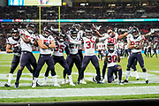 Houston Texans Defensive Back Jahleel Addae (37) celebrates his interception with his team mates during the International Series match between Jacksonville Jaguars and Houston Texans at Wembley Stadium, London, England on 3 November 2019.