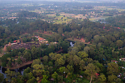 Aerial view of Wat Bakong, south of Siem Reap, Cambodia.