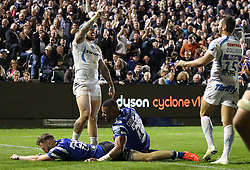 Exeter Chiefs' Jack Nowell celebrates scoring match winning try against Bath Rugby's during the Gallagher Premiership match at the Recreation Ground, Bath.