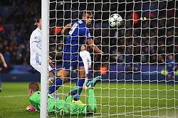 Islam Slimani of Leicester City followed his shot up with a header but gets disallowed for offside. - Mandatory by-line: Alex James/JMP - 10/01/2014 - FOOTBALL - King Power Stadium - Leicester, England - Leicester City v FC Copenhagen - UEFA Champions League