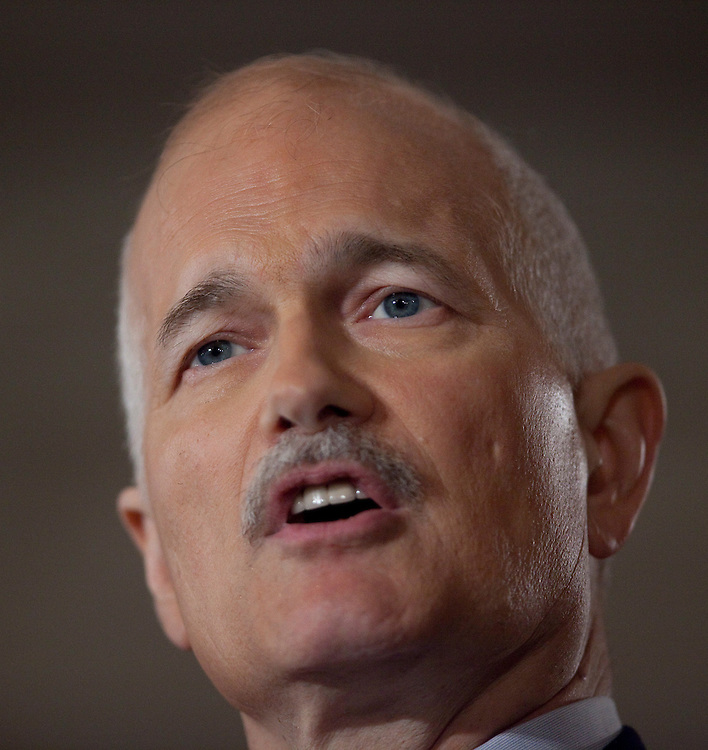 NDP leader Jack Layton speaks at the NDP's campaign kickoff event at the Chateau Laurier in Ottawa, Ontario, March 26, 2011 following the fall of the Conservative government  Friday. Canadians will be heading to the polls May 2.<br /> AFP/GEOFF ROBINS/STR