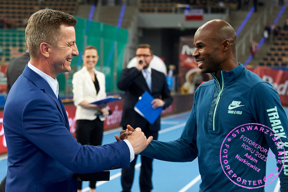 (L) Krzysztof Klimczak President Board of Strauss Cafe Poland and (R) Kim Collins from Saint Kitts and Nevis  during athletics meeting Pedro's Cup at Atlas Arena in Lodz, Poland.<br /> <br /> Poland, Lodz, February 17, 2015<br /> <br /> Picture also available in RAW (NEF) or TIFF format on special request.<br /> <br /> For editorial use only. Any commercial or promotional use requires permission.<br /> <br /> Adam Nurkiewicz declares that he has no rights to the image of people at the photographs of his authorship.<br /> <br /> Mandatory credit:<br /> Photo by &copy; Adam Nurkiewicz / Mediasport