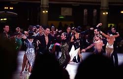 © London News Pictures. Dancers compete in the Latin at the British Ballroom dance championships at the Winter Gardens in Blackpool 27-05-2015. The first Blackpool Dance Festival was held  in 1920 now has 60 countries represented with total number of 2,950 couples competing.Photo credit: Nigel Roddis/LNP