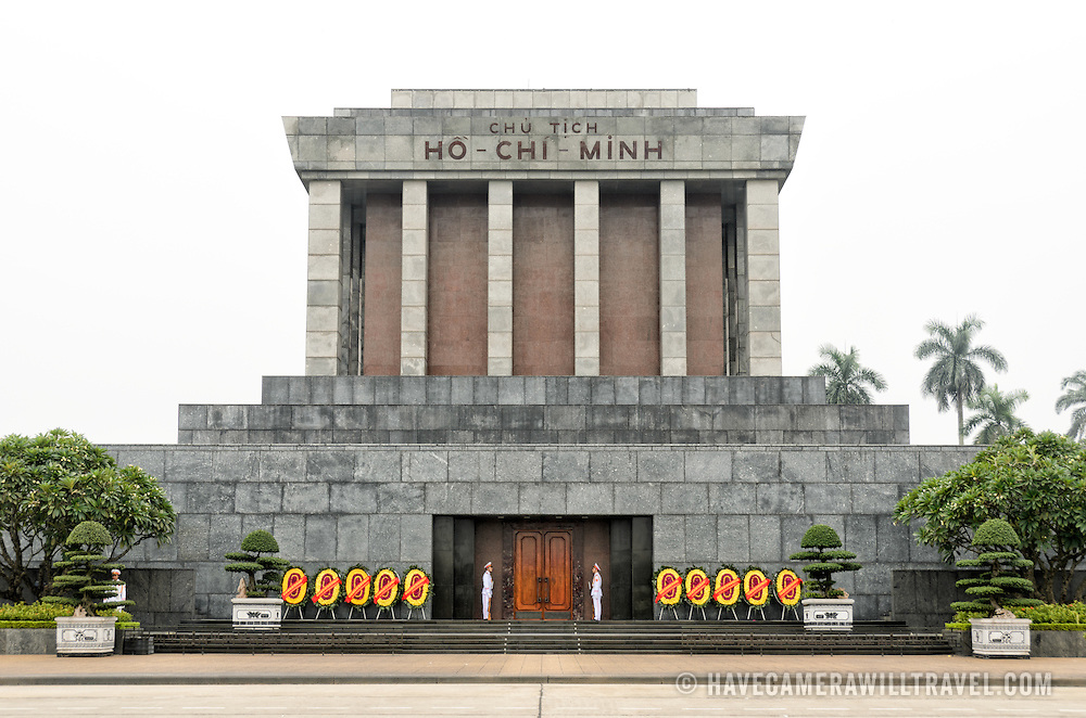 Front view of the Ho Chi Minh Mausoleum on day with thick haze and cloud. A large memorial in downtown Hanoi surrounded by Ba Dinh Square, the Ho Chi Minh Mausoleum houses the embalmed body of former Vietnamese leader and founding president Ho Chi Minh.