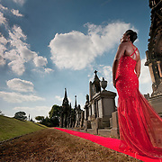 Poster image of a model on a red carpet, in an iconic Yorkshire location for the 2011 Bradford International Film Festival.