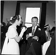 18/02/1957<br /> 02/18/1957<br /> 18 February 1957<br /> Wedding Dr K. Murphy and J. Fitzgerald at St. Mary's Church, Haddington Road and reception at Salthill Hotel, Monkstown. Bridesmaid and Bestman having tea at hotel.