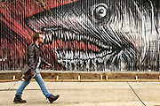 Graffitti of a shark on a wall of Moore Street in Bushwick, Brooklyn, New york