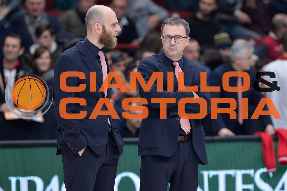 Mario Fioretti,Massimo Cancellieri<br /> Olimpia EA7 Emporio Armani Milano vs Cska Moscow<br /> Euroleague 2016/2017<br /> Milano 08/12/2016<br /> Foto Ciamillo-Castoria