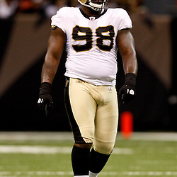 August 21, 2010; New Orleans, LA, USA; New Orleans Saints defensive tackle Sedrick Ellis (98) during a 38-20 win by the New Orleans Saints over the Houston Texans during a preseason game at the Louisiana Superdome. Mandatory Credit: Derick E. Hingle