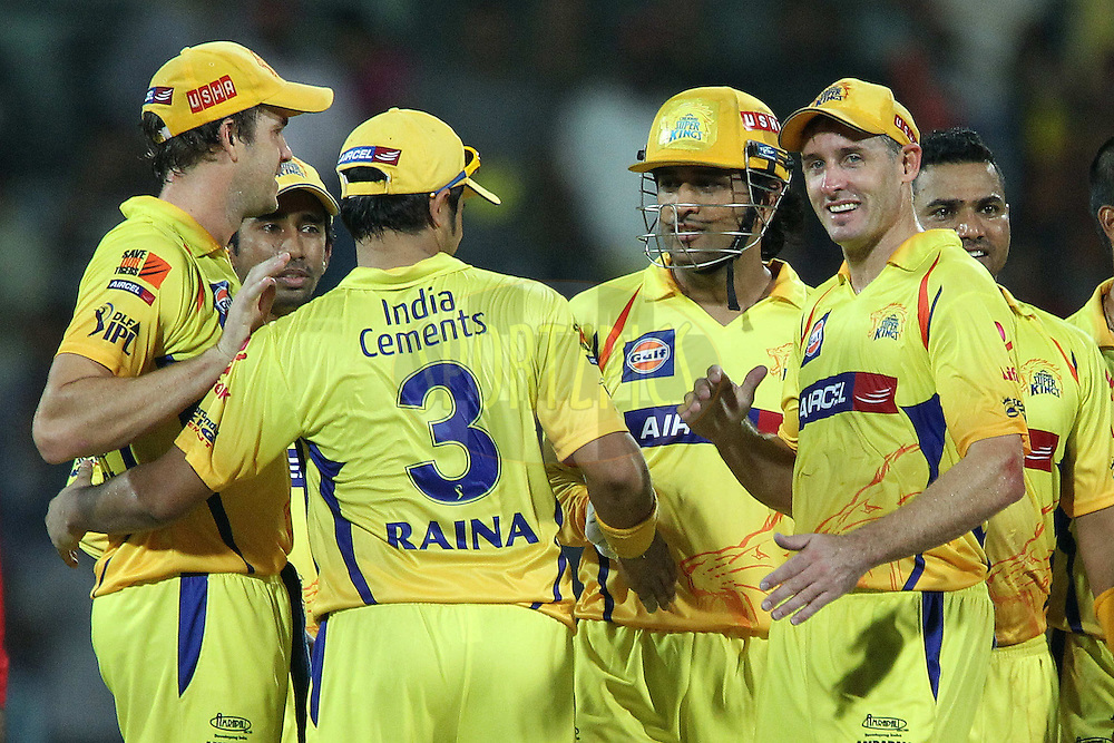 Albei Morkel, MS Dhoni and Michael Hussey celebrate the win during the second Qualifying match of the Indian Premier League ( IPL) 2012  between The Chennai Superkings and the Delhi Daredevils held at the M. A. Chidambaram Stadium, Chennai on the 25th May 2012..Photo by Ron Gaunt/IPL/SPORTZPICS