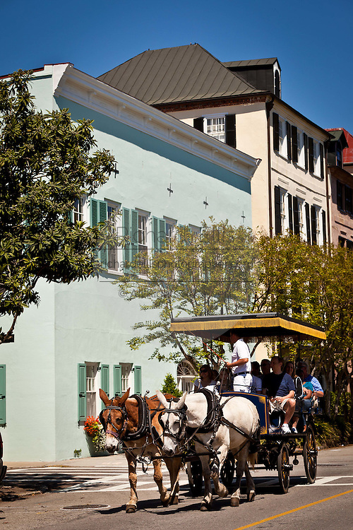 Historic home on Rainbow Row and horse carriage tour in Charleston, SC.