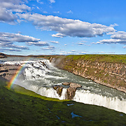 Gullfoss Waterfall located on the Hvitá river, South West Iceland, Golden Triangle, Iceland, Polar Regions.