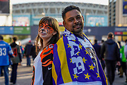 Cincinnati Bengals and LA Rams fans outside Wembley during the International Series match between Los Angeles Rams and Cincinnati Bengals at Wembley Stadium, London, England on 27 October 2019.