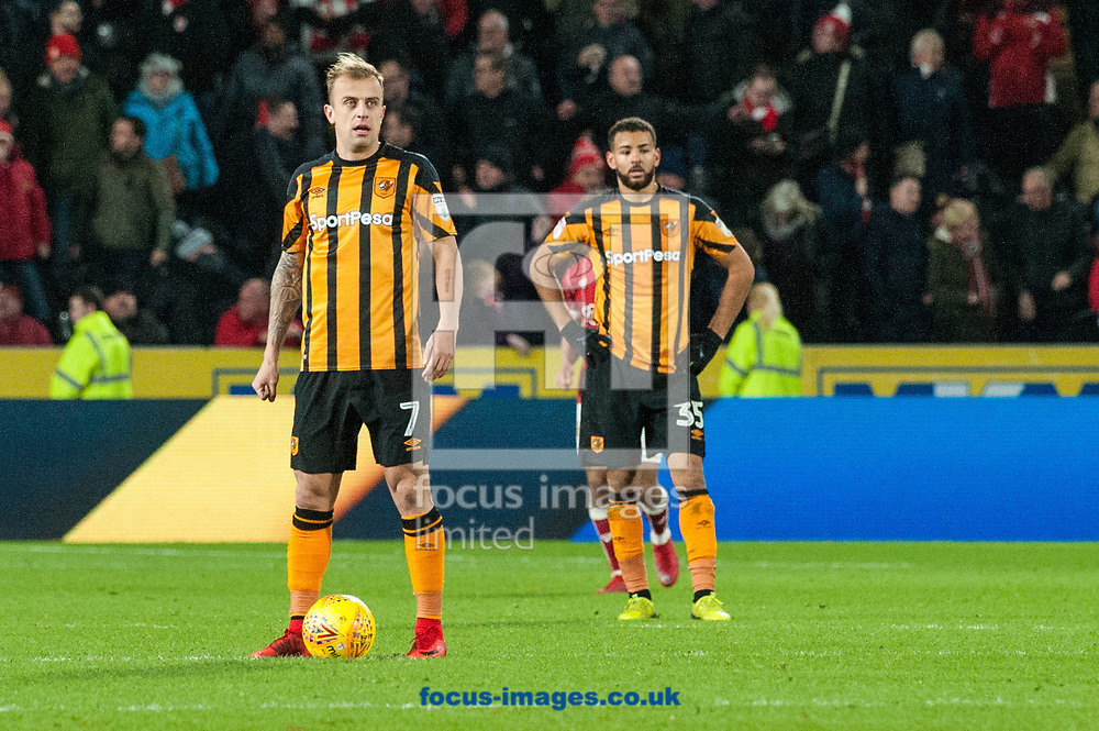Hull City players are distraught following a late goal from Josh Brownhill of Bristol City during the Sky Bet Championship match at the KCOM Stadium, Hull<br /> Picture by Matt Wilkinson/Focus Images Ltd 07814 960751<br /> 25/11/2017