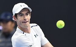 BEIJING, Oct. 9, 2016  Andy Murray of Britain eyes the ball during the men's singles final against Grigor Dimitrov of Bulgaria at the China Open tennis tournament in Beijing, capital of China, Oct. 9, 2016. Murray claimed the title of the event after beating Dimitrov 2-0. (Credit Image: © Li Wen/Xinhua via ZUMA Wire)