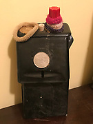 "Black donation box (old mail box) with ""free sundae coin glued on it"" with hair ties from inside grocery 10 in tall by 5in wide<br />