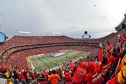 Jan 09, 2011; Kansas City, MO, USA; A genera view of the stadium as a Stealth B2 bomber flies over prior to the 2011AFC wild card playoff game at Arrowhead Stadium. Mandatory Credit: Your Name-US PRESSWIRE