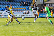 Forest Green Rovers Christian Doidge(9) misses an opportunity in front of goal during the Vanarama National League match between Southport and Forest Green Rovers at the Merseyrail Community Stadium, Southport, United Kingdom on 17 April 2017. Photo by Shane Healey.