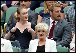 Image ©Licensed to i-Images Picture Agency. 28/06/2014, Wimbledon, London, United Kingdom. Chris Robshaw and Camilla Kerslake-Morgan talking to David Beckham Mother Sandra  in the Royal box on Day 6 of the Wimbledon Tennis Championship. Picture by Andrew Parsons / i-Images
