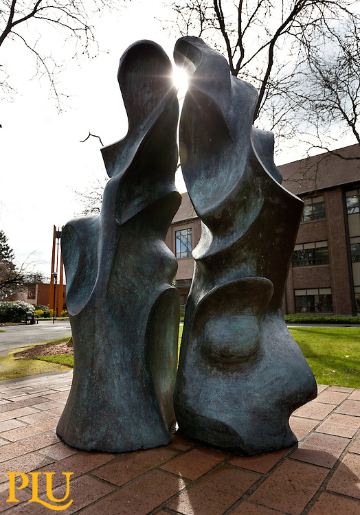 Sculpture on Red Square at PLU on Wednesday, March 21, 2012.