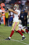 San Francisco 49ers linebacker Marcus Rush (44) points toward the end zone as he celebrates after sacking San Diego Chargers quarterback Mike Bercovici (6) causing a fumble recovered by the Niners in the fourth quarter during the 2016 NFL preseason football game against the San Diego Chargers on Thursday, Sept. 1, 2016 in San Diego. The 49ers won the game 31-21. (©Paul Anthony Spinelli)