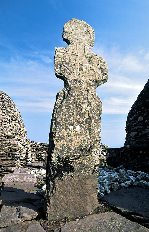 Skellig Michael ancient Celtic Christian stone cross in monastery on summit of island of Skellig Michael, County Kerry, Ireland