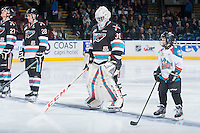 KELOWNA, CANADA - DECEMBER 4: Michael Herringer #30 of Kelowna Rockets lines up with the Pepsi Save On Foods player of the game on December 4, 2015 at Prospera Place in Kelowna, British Columbia, Canada.  (Photo by Marissa Baecker/Shoot the Breeze)  *** Local Caption *** Pepsi Save On Foods Player; Michael Herringer;