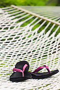 Pink flip flops on backyard hammock on a summer day with copy space