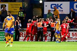 Leyton Orient players celebrate their late winner - Mandatory by-line: Ryan Crockett/JMP - 20/08/2019 - FOOTBALL - One Call Stadium - Mansfield, England - Mansfield Town v Leyton Orient - Sky Bet League Two