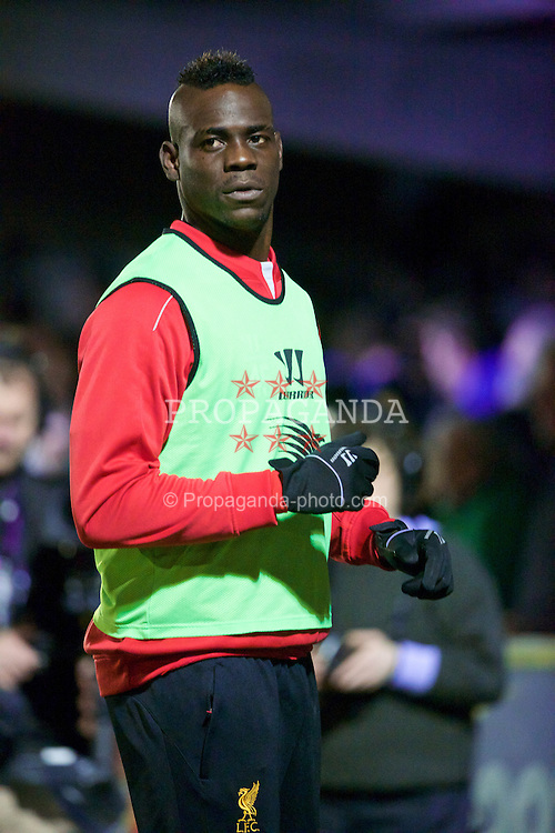 KINGSTON-UPON-THAMES, ENGLAND - Monday, January 5, 2015: Liverpool's substitute Mario Balotelli warms-up during the FA Cup 3rd Round match against AFC Wimbledon at the Kingsmeadow Stadium. (Pic by David Rawcliffe/Propaganda)