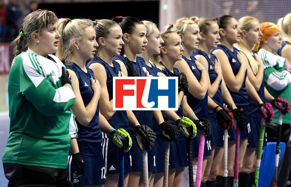 BERLIN - Indoor Hockey World Cup<br /> Semi-final: Belarus - Germany<br /> foto: Belarus team.<br /> WORLDSPORTPICS COPYRIGHT FRANK UIJLENBROEK
