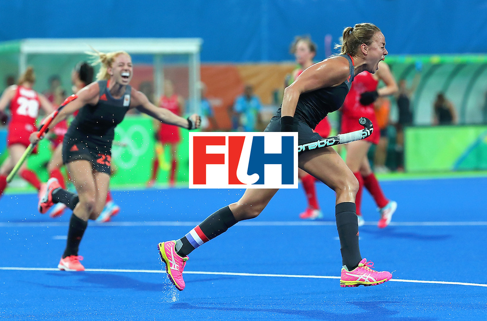 RIO DE JANEIRO, BRAZIL - AUGUST 19:  Maartje Paumen of Netherlands celebrates scoring her sides second goal during the Women's Gold Medal Match against the Netherlands on Day 14 of the Rio 2016 Olympic Games at the Olympic Hockey Centre on August 19, 2016 in Rio de Janeiro, Brazil.  (Photo by Tom Pennington/Getty Images)