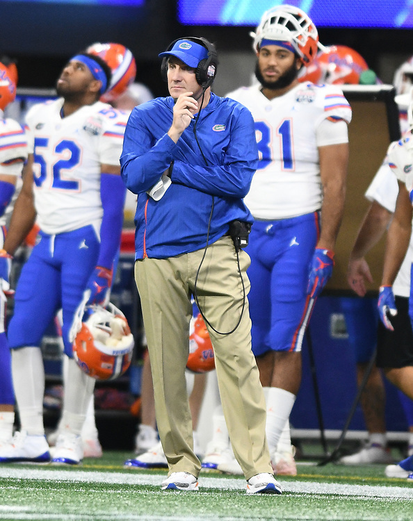 Florida Gators head coach Dan Mullen during the Chick-fil-A Bowl Game at  the Mercedes-Benz Stadium, Saturday, December 29, 2018, in Atlanta. ( AJ Reynolds via Abell Images for Chick-fil-A Kickoff)