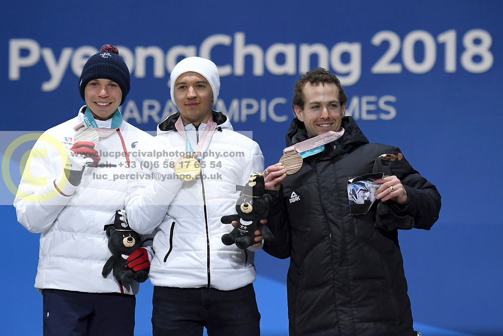 BAUCHET_Arthur, BUGAEV_Aleksei, HALL_Adam, Para Alpine Skiing, ParaSkiAlpin, Super Combined, Podium at  the PyeongChang2018 Winter Paralympic Games, South Korea.