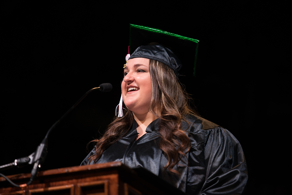 Sarah Boston delivers the student address at undergraduate commencement. Photo by Ben Siegel