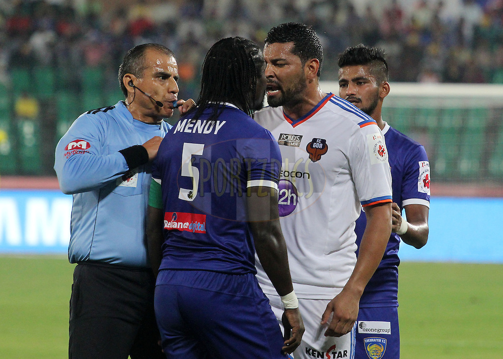 Bernard Mendy of Chennaiyin FC and Andre Santos of FC Goa argue during match 50 of the Hero Indian Super League between Chennaiyin FC and FC Goa held at the Jawaharlal Nehru Stadium, Chennai, India on the 5th December 2014.<br /> <br /> Photo by:  Vipin Pawar/ ISL/ SPORTZPICS