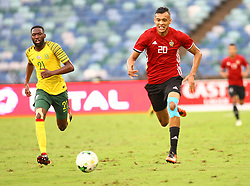 Durban 08-09-18 Buhlebuyeza Mkhwanazi (left) of Bafana Bafana chasing the ball with AniasMohamed Saltou of Libya during the African Nations qualifier against Lybia at Moses Mabhida stedium<br /> Picture Bongani Mbatha African News Agency (ANA)