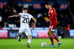 Aleksandar Mitrovic of Fulham is marked by Ben Wilmot of Swansea City - Mandatory by-line: Ryan Hiscott/JMP - 29/11/2019 - FOOTBALL - Liberty Stadium - Swansea, England - Swansea City v Fulham - Sky Bet Championship