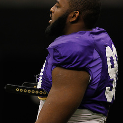 January 5, 2012; New Orleans, LA, USA; LSU Tigers defensive tackle Michael Brockers (90) during practice for the 2012 BCS National Championship game to be played on January 9, 2012 against the Alabama Crimson Tide at the Mercedes-Benz Superdome.  Mandatory Credit: Derick E. Hingle-US PRESSWIRE