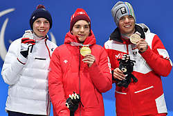 BAUCHET_Arthur, GMUR_Theo, SALCHER_Markus, ParaSkiAlpin, Para Alpine Skiing, Super G, Podium at PyeongChang2018 Winter Paralympic Games, South Korea.