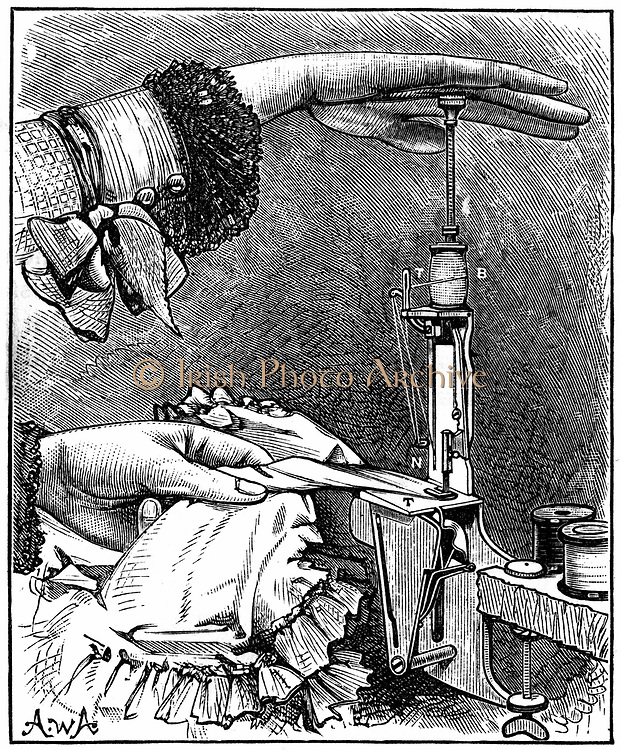 Lockstitch sewing machine, eight inches long x 2 inches wide, weighing only 8 oz, patented Berlin 1881. Engraving