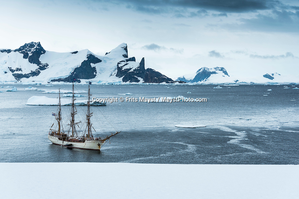 Antarctica, February 2016. First landing at an unnamed island in the Berthelot island group. Dutch Tallship, Bark Europa, explores Antarctica during a 25 day sailing expedition. Photo by Frits Meyst / MeystPhoto.com