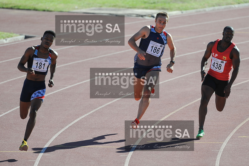 STELLENBOSCH, South Africa - Saturday 13 April 2013, LJ van Zyl (186) in the mens 200m heats during day 2 of the South African Senior Athletics championships at the University of Stellenbosch's Coetzenburg stadium.Photo by Roger Sedres/ ImageSA